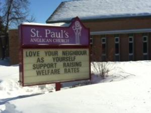 """""""Love your neighbour as yourself: support raising welfare rates"""""""